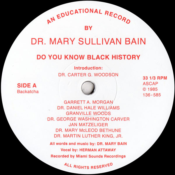 dr-mary-sullivan-bain-do-you-know-black-history-repress-pre-order-backatcha-records-cover